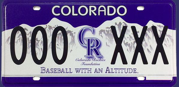 A Colorado Rockies license plate. (Courtesy MLB)