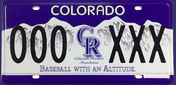 A Colorado Rockies license plate. (Courtesy MLB)