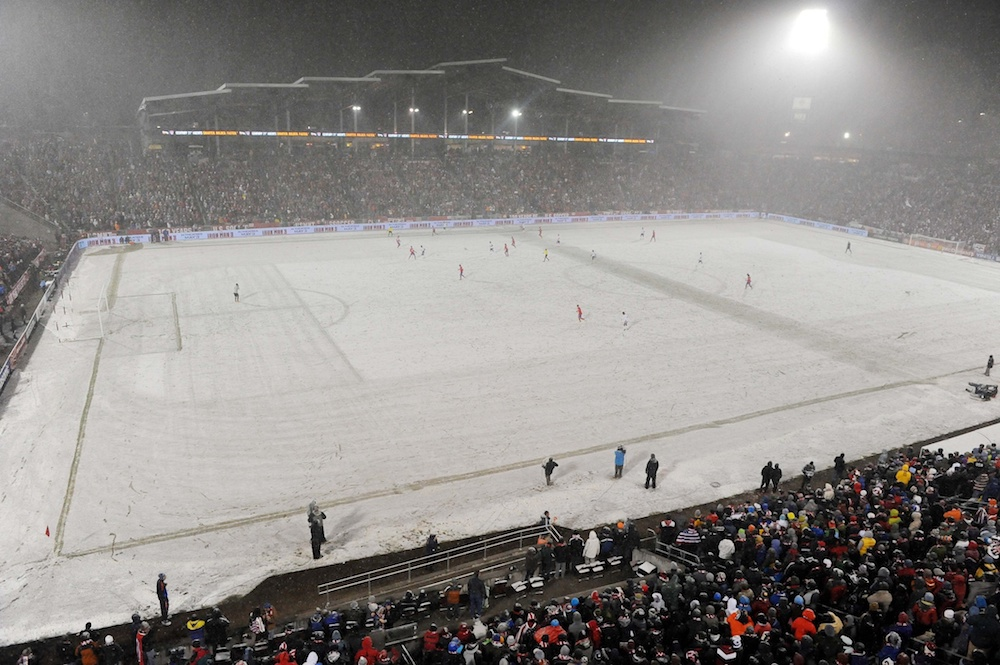 It was snowy at Dick's Sporting Goods Park on March 22, 2013. (Ron Chenoy/USA Today Sports)