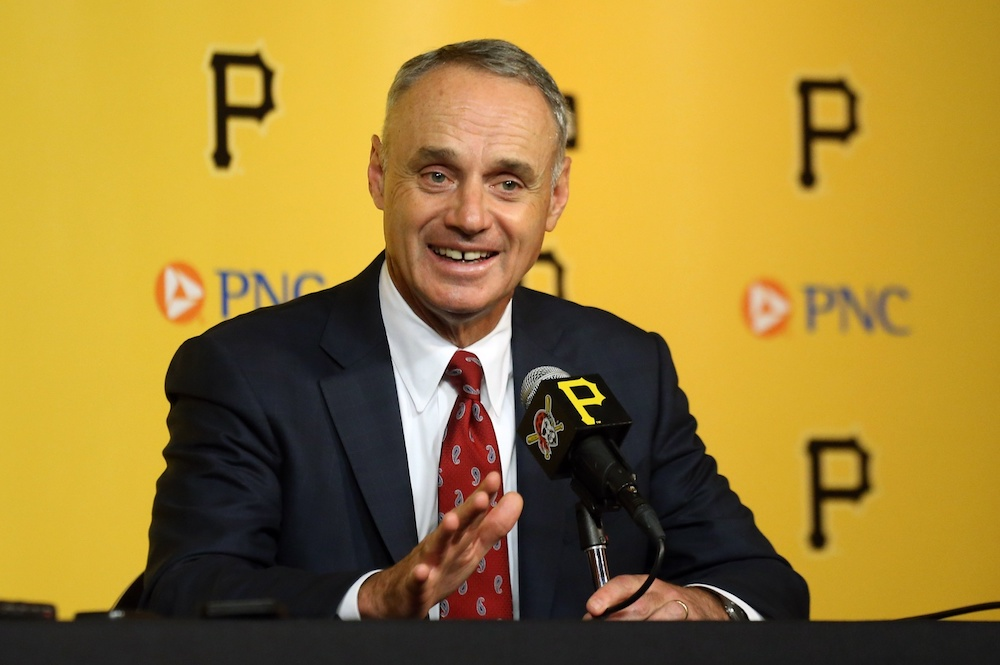 "Rob Manfred said he's ""disappointed"" by baseball's pace of play Wednesday. (Charles LeClaire/USA Today Sports)"