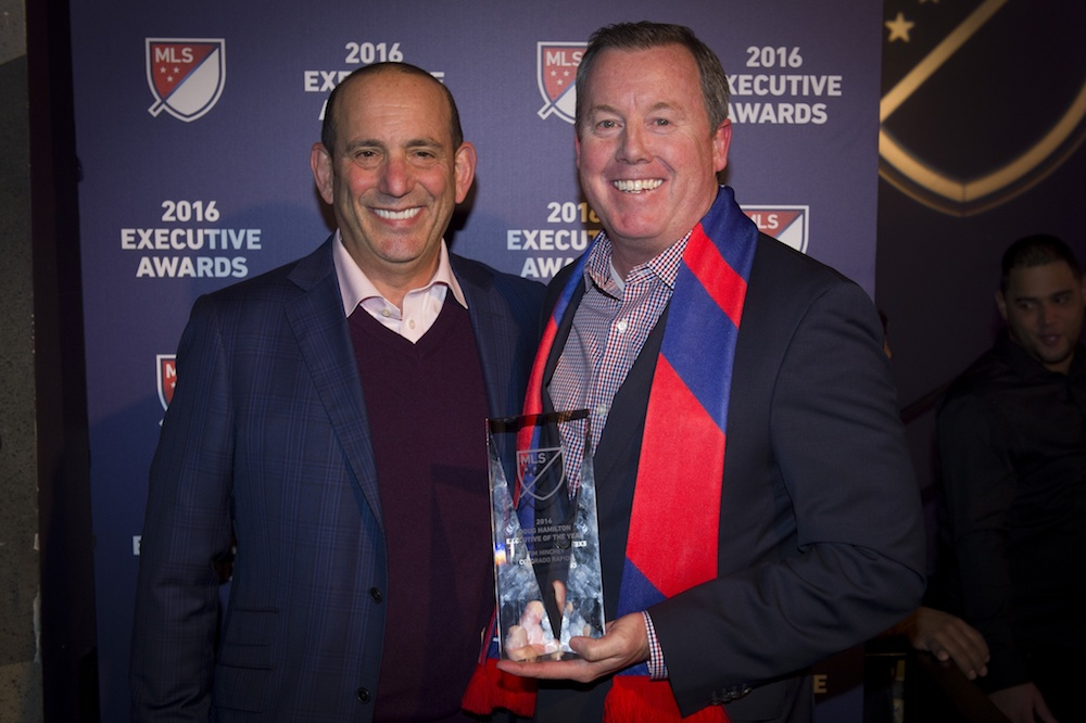 Tim Hinchey, right, is reportedly leaving the Rapids to become CEO of USA Swimming. (Kelvin Kuo/USA Today Sports)