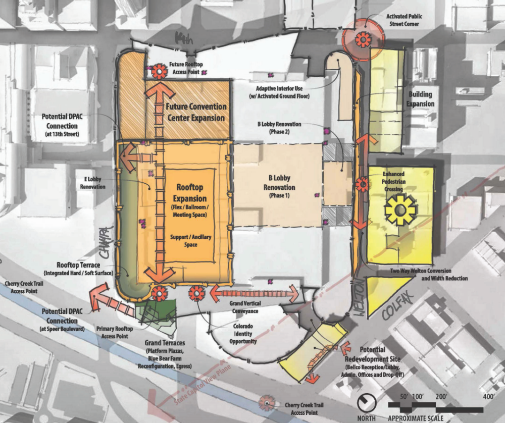 A sketch of potential plans for the Colorado Convention Center. (Colorado Convention Center Master Plan)