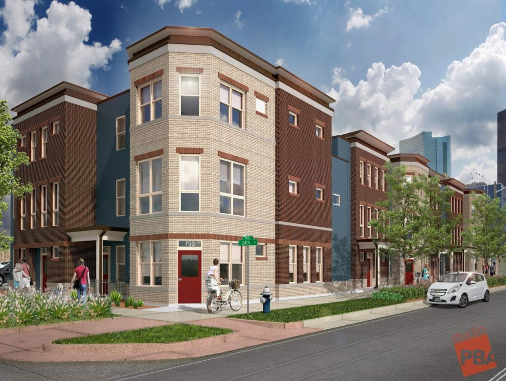 A Studio PBA rendering of the homes planned for 24th and Stout. (Courtesy of Redfin)