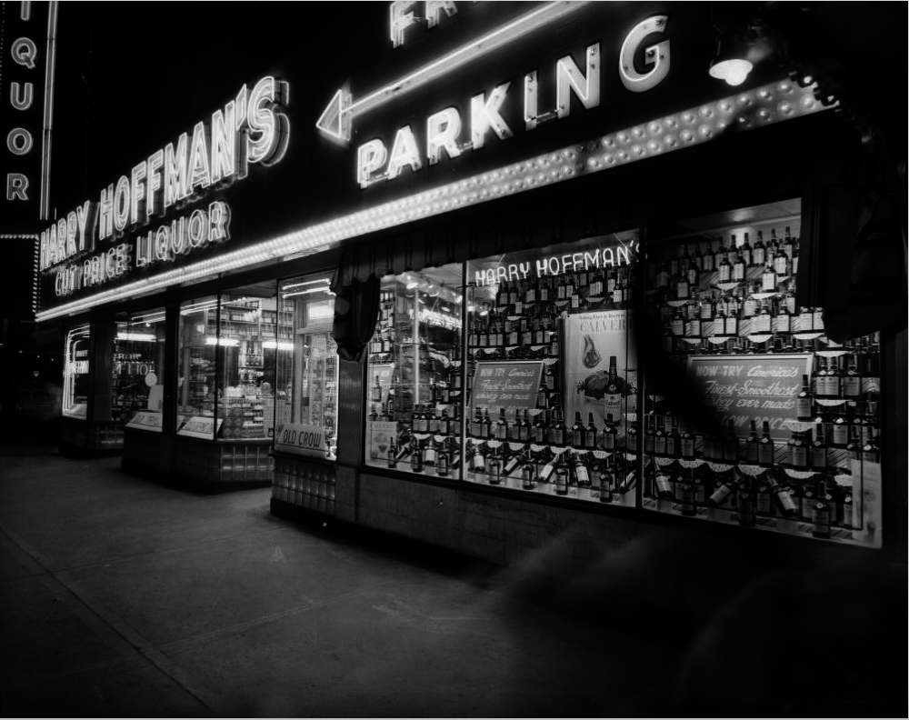 Harry Hoffman's liquor store at Curtis and 18th streets, circa 1950s. (Burnis McCloud/Western History & Genealogy Dept./Denver Public Library)