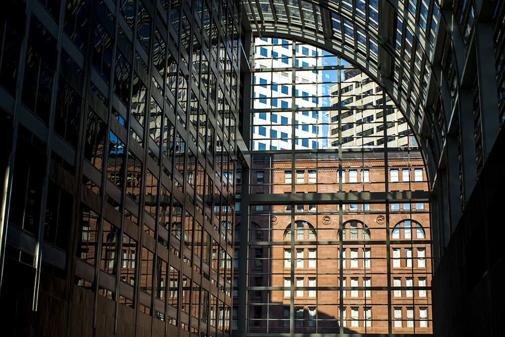A view from inside the Wells Fargo Center on Broadway. (Kevin J. Beaty/Denverite)  downtown; denver; colorado; kevinjbeaty; denverite;