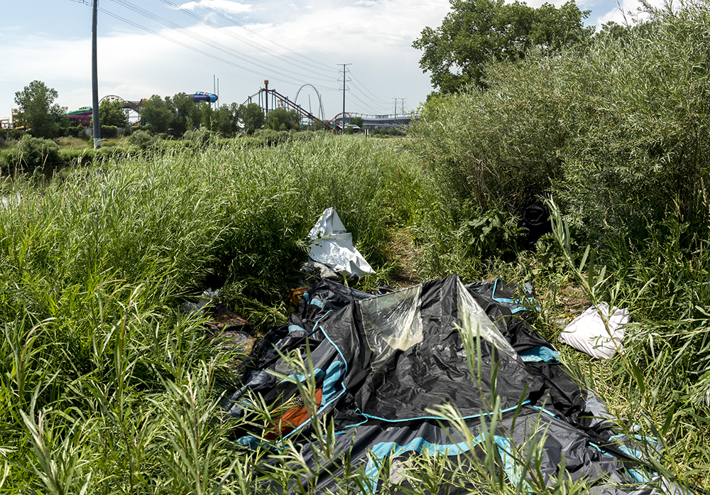 Denver city naturalist Kelly Uhing comes across a homeless camp in Fishback Landing Park's tall grass, July 7, 2017. (Kevin J. Beaty/Denverite)  south platte river; science; ecosystem; environment; kevinjbeaty; denverite; coloradol denver; riparian zone;