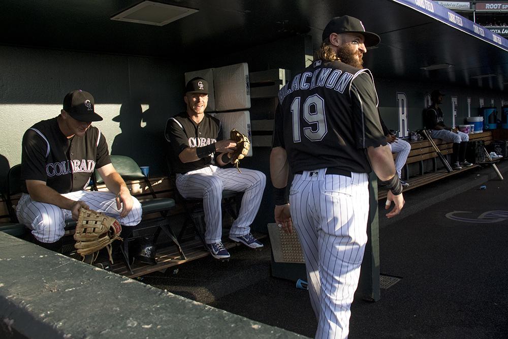 Charlie Blackmon in the Rockies' dugout. Colorado Rockies vs Chicago White Sox, July 8, 2017. (Kevin J. Beaty/Denverite)  colorado rockies; baseball; coors field; denver; denverite; colorado; kevinjbeaty;