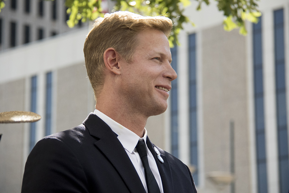 """Kyle Zeppelin, developer and plaintiff. """"Ditch the Ditch"""" activists announce a new lawsuit challenging the I-70 expansion outside the Alfred A. Arraj United States Federal Courthouse, July 10, 2017. (Kevin J. Beaty/Denverite)  i-70; i70; ditch the ditch; denver; colorado; denverite; lawsuit; kevinjbeaty;"""