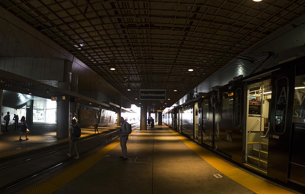 The RTD Convention Center Station. (Kevin J. Beaty/Denverite)  rtd; light rail; denver; colorado; denverite; kevinjbeaty; central business district; downtown;