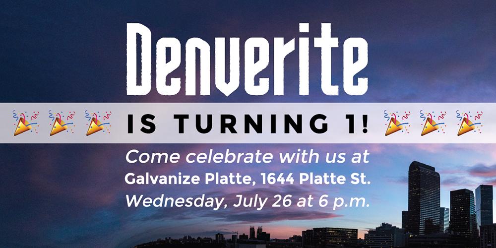 Denverite: the party  1 year anniversary; graphic; invitation;