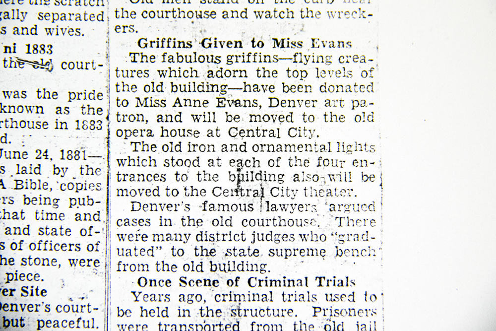 """""""Griffins Given to Miss Evans,"""" Rocky Mountain News, 1933. (Denver Public Library/Western History Collection/clippings file)  arapahoe courthouse; history; archival; downtown; denver public library; colorado; denverite"""