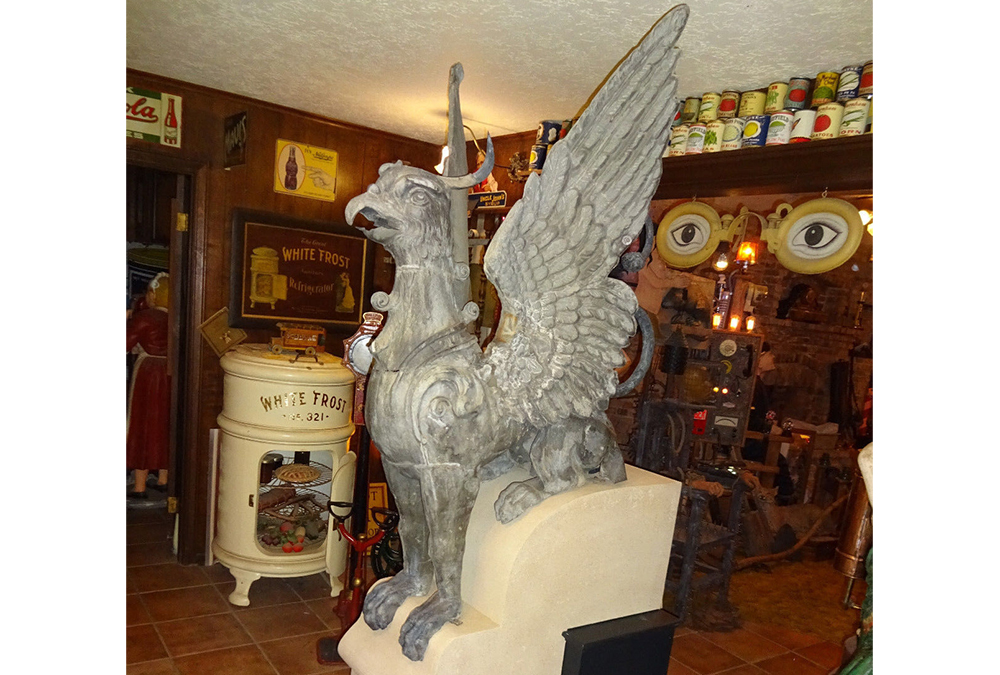 A zinc griffin for sale by Lon Stanley that allegedly once perched above a long-gone courthouse downtown. (Courtesy Lon Stanley)  public art; ebay; arapahoe courthouse;