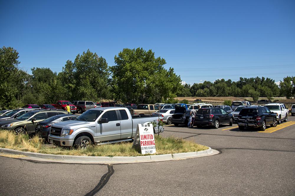 Limited parking at South Platte Park. (Kevin J. Beaty/Denverite)  south platte river; south platte park; littleton; tubing; summer; kevinjbeaty; denver; denverite; colorado;