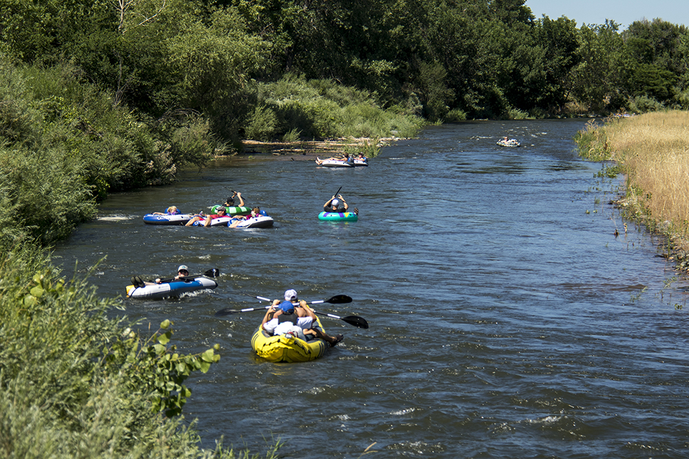 Tubing at South Platte Park. (Kevin J. Beaty/Denverite)  south platte river; south platte park; littleton; tubing; summer; kevinjbeaty; denver; denverite; colorado;
