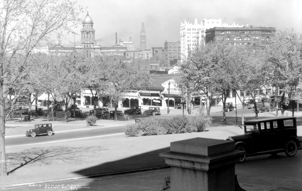 View northwest from Capitol Building, Lincoln Street and East Colfax Avenue, circa 1927. (Louis Charles McClure/Denver Public Library/Western History Collection/MCC-2865)  colfax; history; historic; denver; colorado;