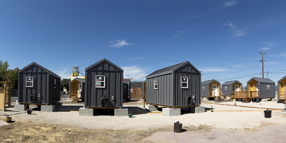 The Beloved Community tiny home village, 38th and Walnut Streets, on move-in day, July 21, 2017. (Kevin J. Beaty/Denverite)
