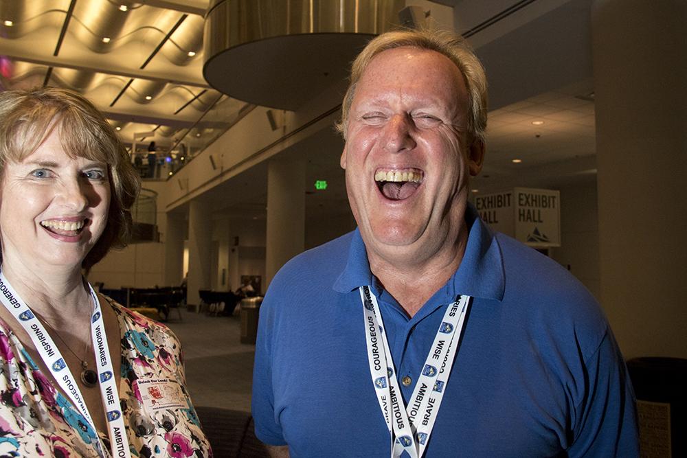 Regina Thomson and Bill Eigles at the Western Conservative Summit, July 21, 2017. (Kevin J. Beaty/Denverite)  western conservative summit; wcs; protest; cory gardner; healthcare; adapt; medicaid; denver; denverite; kevinjbeaty;