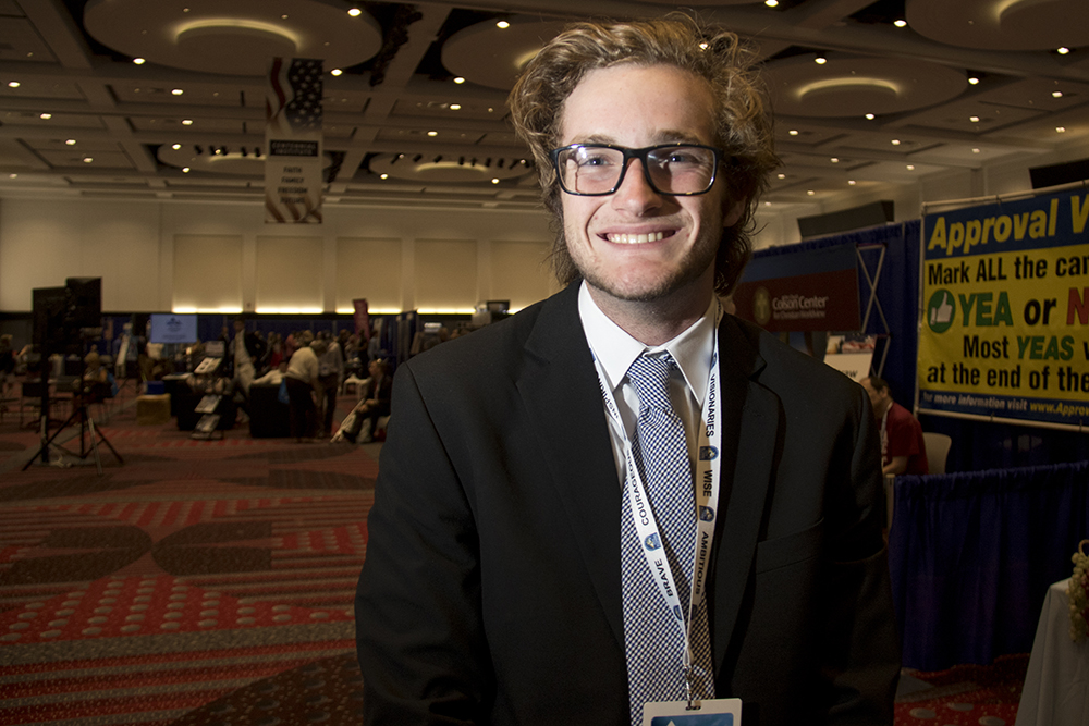 Jonathan Couch at the Western Conservative Summit, July 21, 2017. (Kevin J. Beaty/Denverite)  western conservative summit; wcs; protest; cory gardner; healthcare; adapt; medicaid; denver; denverite; kevinjbeaty;