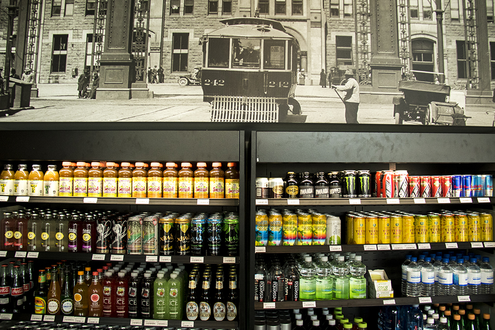 Drinks for sale and a historic photo inside The Local(ish) Market at Union Station, July 26, 2017. (Kevin J. Beaty/Denverite)  union station; food; restaurant; beer; denver; colorado; denverite; kevinjbeaty;