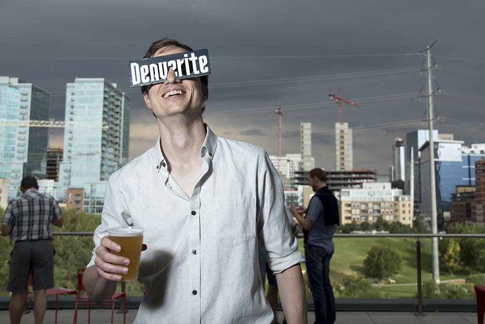 Editor Dave Burdick at Denverite's first birthday party. (Kevin J. Beaty/Denverite)