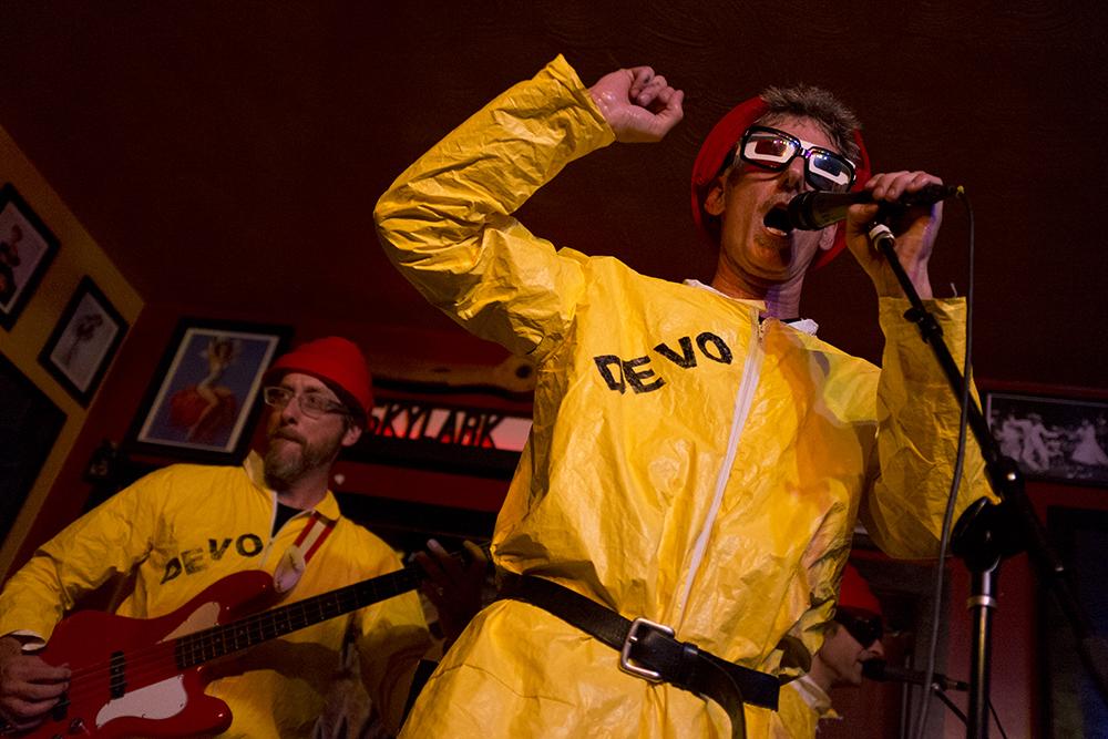 Jocko Homo, the Devo Tribute Band, plays the Skylark Lounge during the UMS, July 28, 2017. (Kevin J. Beaty/Denverite)  ums; music; concert; underground music showcase; south broadway; skylark lounge; denver; denverite; colorado; kevinjbeaty; divo;