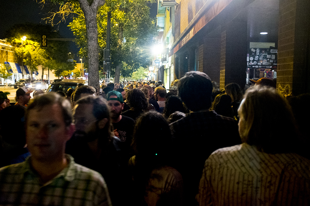 South Broadway packed with people on night 2 of the Underground Music Showcase, July 29, 2017. (Kevin J. Beaty/Denverite)  denver; ums; denverite; colorado; music; south broadway; bars; nightlife; entertainment;