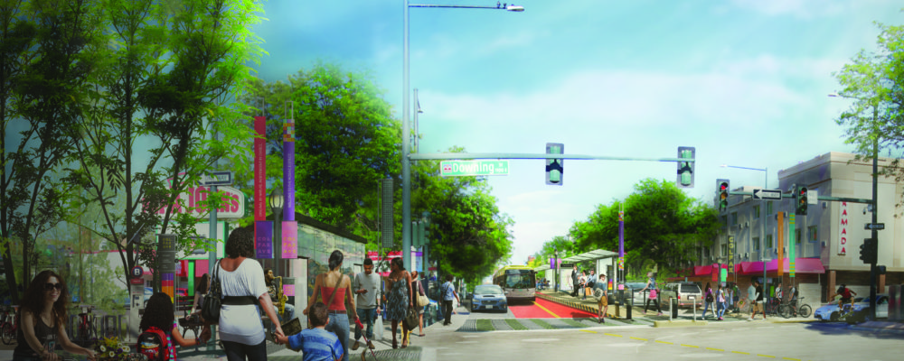 Here's what the Colfax Bus Rapid Transit project would look like if the preferred alternative is a dedicated center lane. (Denver Government)