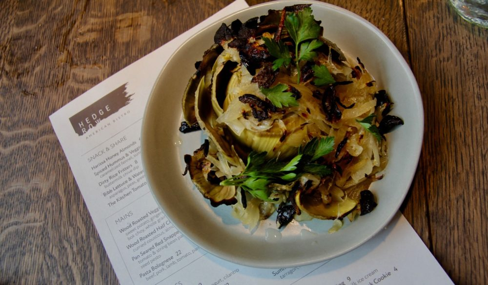 Roasted artichokes at Hedge Row. (Courtesy of The Kitchen)