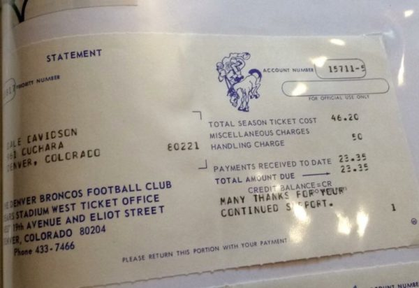 The receipt for Dail Davidson's season ticket in 1969. (Courtesy of Amanda Sandvig)
