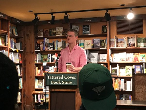 """Drew Magary reading an excerpt of his book, """"The HIke."""" (Christian Clark/Denverite)"""
