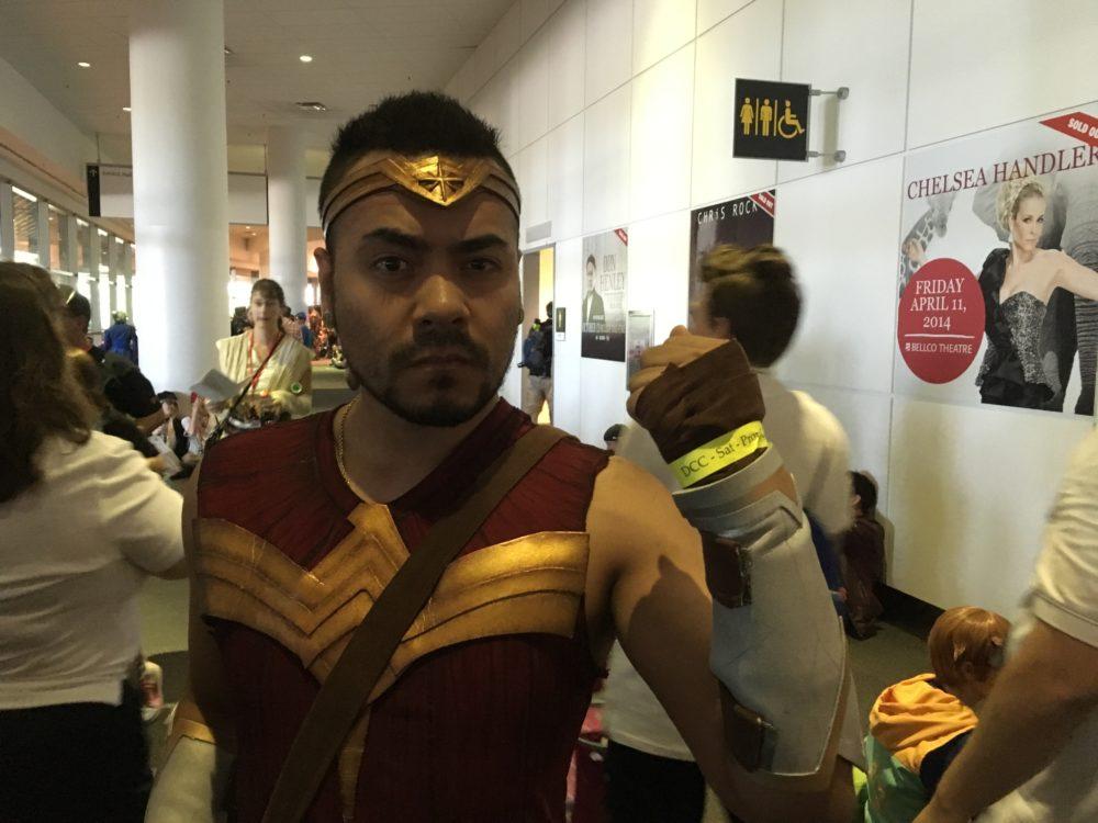 Joseph Amaro, dressed as Wonder Woman, poses at Denver Comic Con on Saturday, July 1, 2017. (Dave Burdick/Denverite)