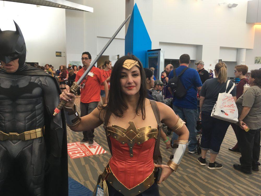 Pam Maass, dressed as Wonder Woman, poses at Denver Comic Con on Saturday, July 1, 2017. (Dave Burdick/Denverite)