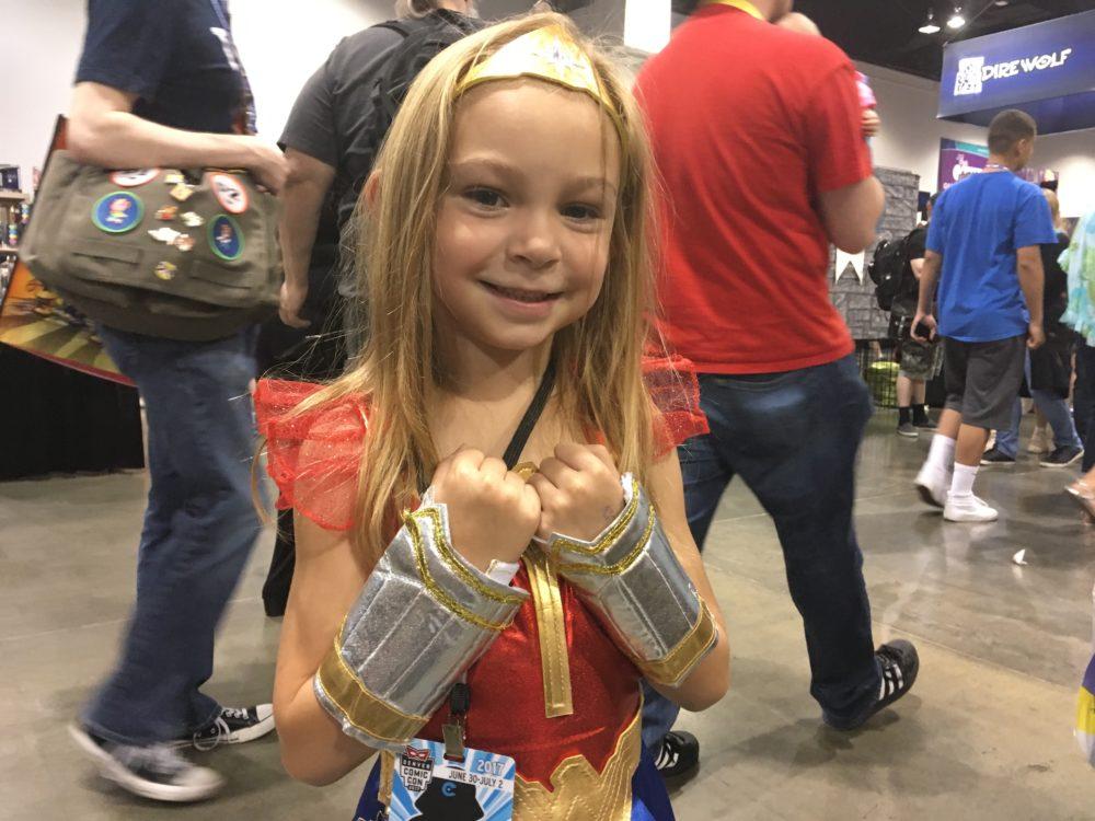 Cadence Kimble, dressed as Wonder Woman, poses at Denver Comic Con on Saturday, July 1, 2017. (Dave Burdick/Denverite)
