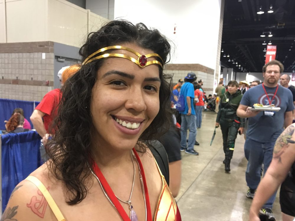 Melissa Altamar, dressed as Wonder Woman, poses at Denver Comic Con on Saturday, July 1, 2017. (Dave Burdick/Denverite)