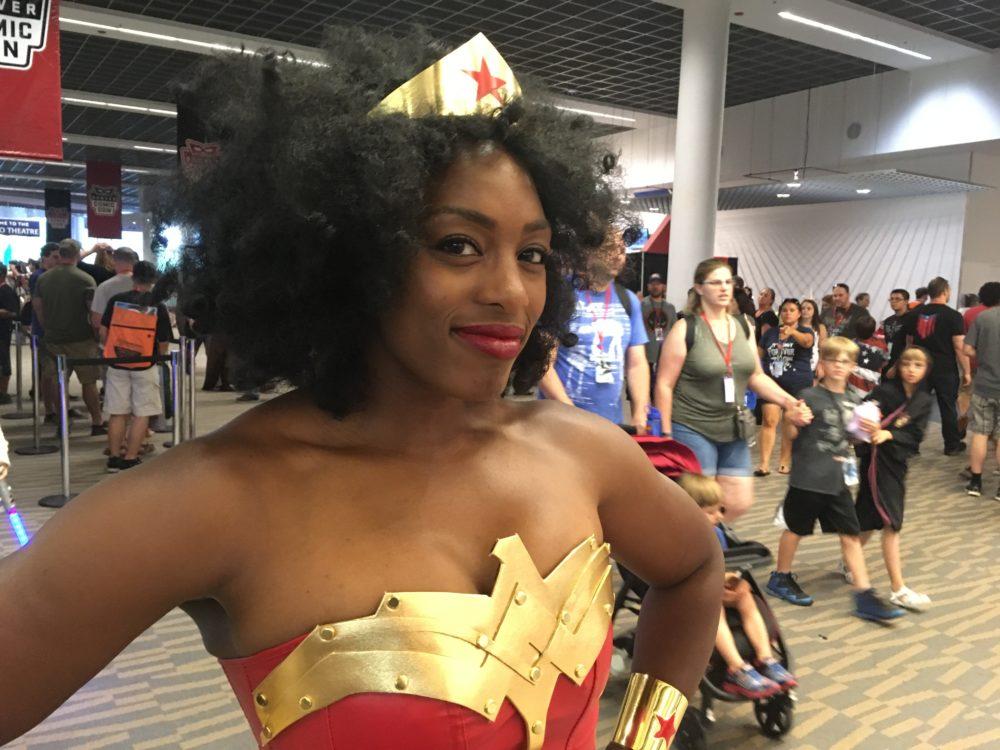 Sheeba Ibidunni, dressed as Wonder Woman, poses at Denver Comic Con on Sunday, July 2, 2017. (Dave Burdick/Denverite)