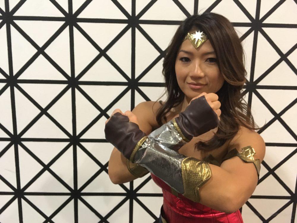 Mulania Bathin, dressed as Wonder Woman, poses at Denver Comic Con on Sunday, July 2, 2017. (Dave Burdick/Denverite)