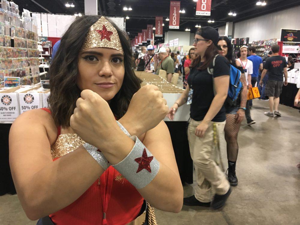 Alyssa Mora, dressed as Wonder Woman, poses at Denver Comic Con on Sunday, July 2, 2017. (Dave Burdick/Denverite)