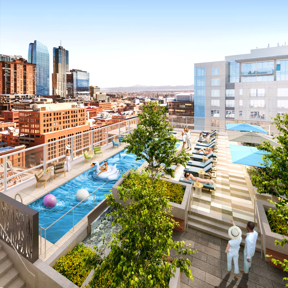 Of course there's going to be a pool. Here's a rendering of it. (Courtesy of East West Partners)