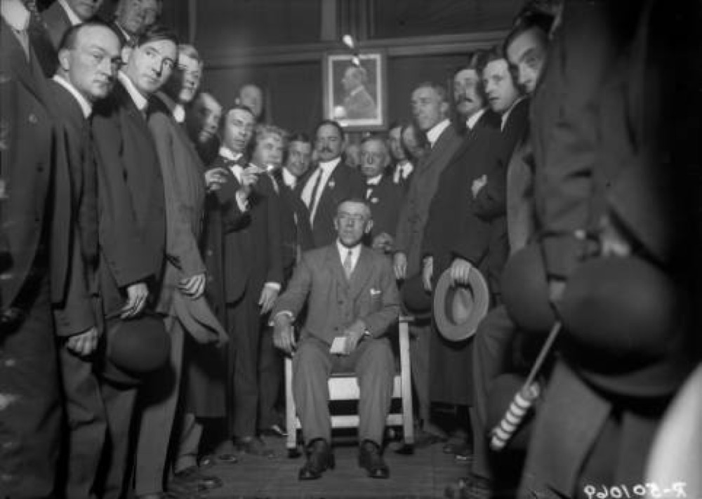 President Woodrow Wilson at the Denver Press Club during his visit to Denver during the early 20th Century. (Harry Mellon Rhoads/Denver Public Library/Western History Collection/Rh-651)