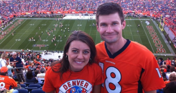 Jim Hayes and his wife, Amber, at a Broncos game. (Courtesy of Jim Hayes)