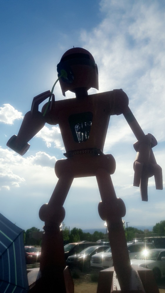 A sculpture outside of Meow Wolf in Santa Fe, New Mexico. (Adrian D. Garcia/Denverite)