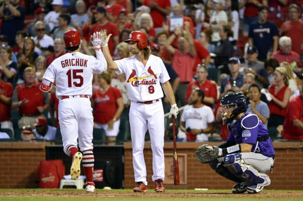 Randal Grichuk is congratulated after smacking a dinger. (Jeff Curry/USA Today Sports)