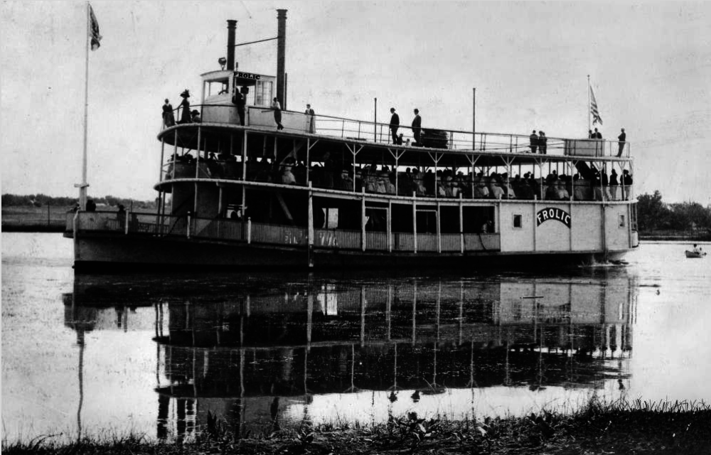 """The riverboat """"Frolic"""" on Sloan's Lake in Denver, circa 1905. The boat was burned in 1908 and dismantled in 1910.  (Western History & Genealogy Dept./Denver Public Library)"""