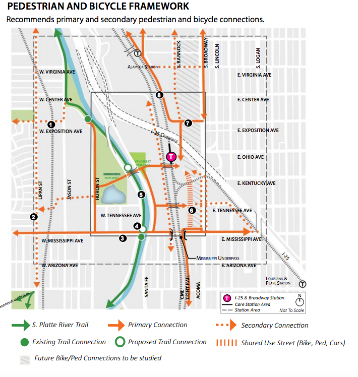 Potential new connections around South Broadway and Interstate 25. (City of Denver)