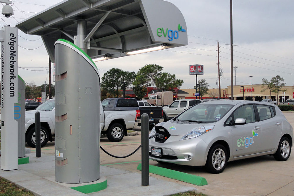 """A Nissan Leaf charging in Houston, Texas at a combination """"fast"""" and Level 2 charger. (EVgo Network/Wikimedia Commons)"""