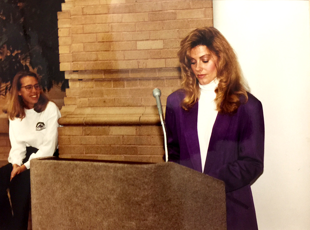 Karin Bearnarth speaks at a Rockies event in 1994. (Courtesy, Karin Bearnarth)