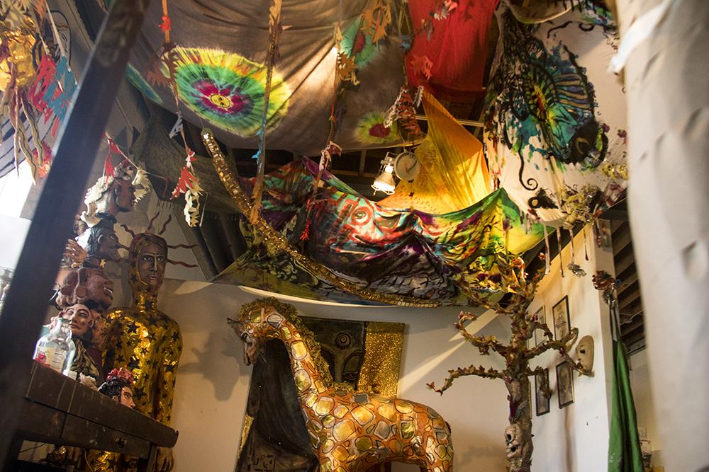 Cal Duran's studio inside ReCreative on Santa Fe Drive, Aug. 4, 2017. (Kevin J. Beaty/Denverite)  art district on santa fe; recreative; diy; gallery;