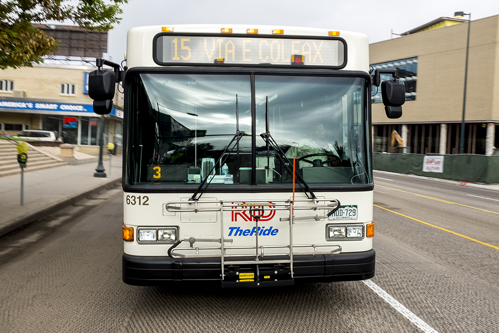 A number 15 RTD bus on Colfax, Aug. 11, 2017. (Kevin J. Beaty/Denverite)  rtd; bus; colfax; denver; colorado; transportation; kevinjbeaty; denverite;