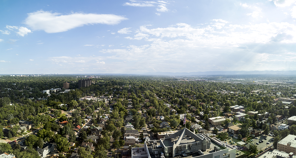 Looking south from the top floor of the newly-completed Country Club Towers, Aug. 16, 2017. (Kevin J. Beaty/Denverite)  country club towers; residential real estate; apartment building; denver; colorado; denverite; kevinjbeaty; denver architectural foundation; cityscape; skyline;