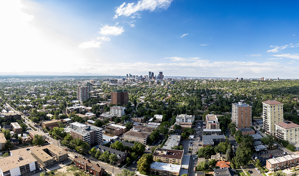 Looking north from the top floor of the newly-completed Country Club Towers, Aug. 16, 2017. (Kevin J. Beaty/Denverite)  country club towers; residential real estate; apartment building; denver; colorado; denverite; kevinjbeaty; denver architectural foundation; cityscape; skyline;